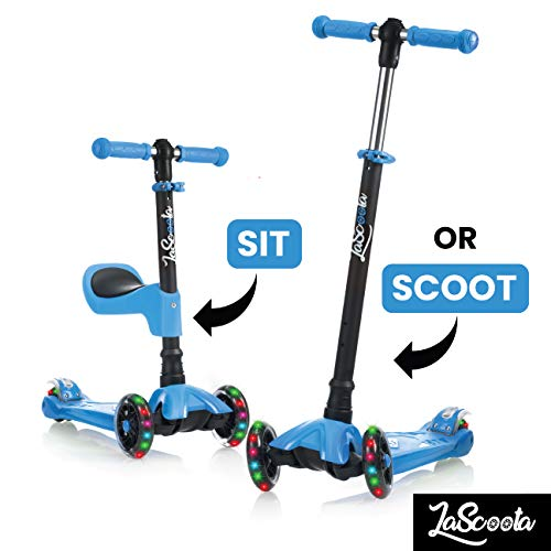 Lascoota 2-in-1 Kick Scooter with Removable Seat Great for Kids & Toddlers Girls...
