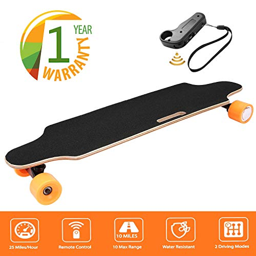 35.4' Electric Skateboard 10km Range 250W Hub-Motor 2.9' Wheels Longboard with...
