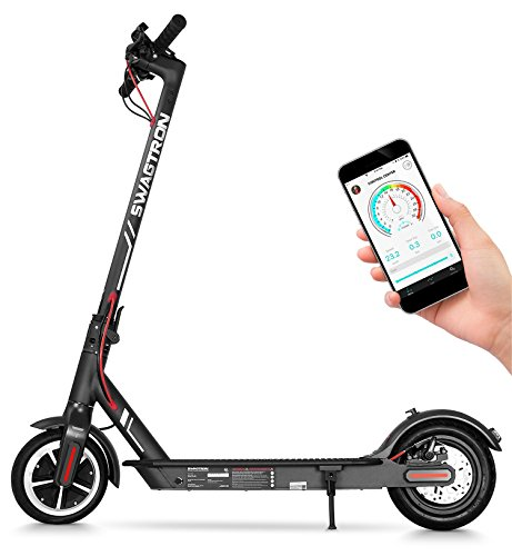 Swagtron High Speed Electric Scooter with 8.5' Cushioned Tires, Cruise Control...