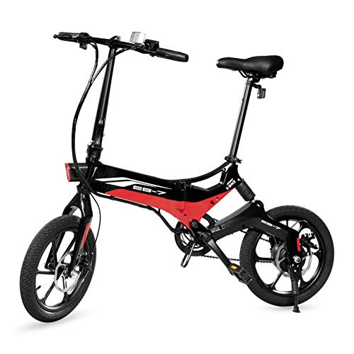 Swagtron Swagcycle EB-7 Elite Folding Electric Bike, 16-Inch Wheels, Swappable...