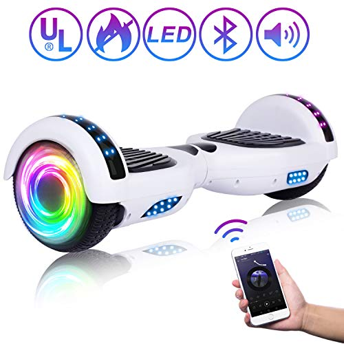 SISIGAD Hoverboard 6.5' Self Balancing Scooter with Colorful LED Wheels Lights...