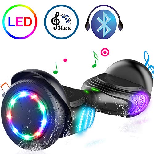 TOMOLOO Hoverboard Bluetooth Speaker Colorful LED Lights Self-Balancing Scooter...
