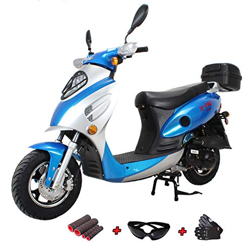 X-Pro 50cc Street Legal Automatic Moped Scooter with Gloves, Goggle and Handgrip...